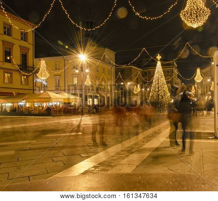 Typical Christmas decoration in a Italian city