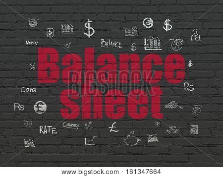 Banking concept: Painted red text Balance Sheet on Black Brick wall background with  Hand Drawn Finance Icons