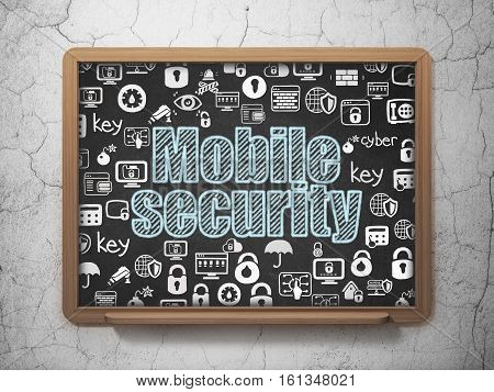 Security concept: Chalk Blue text Mobile Security on School board background with  Hand Drawn Security Icons, 3D Rendering
