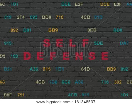 Privacy concept: Painted red text Self Defense on Black Brick wall background with Hexadecimal Code