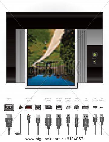 Laserjet Printer Top View + Cables & Ports