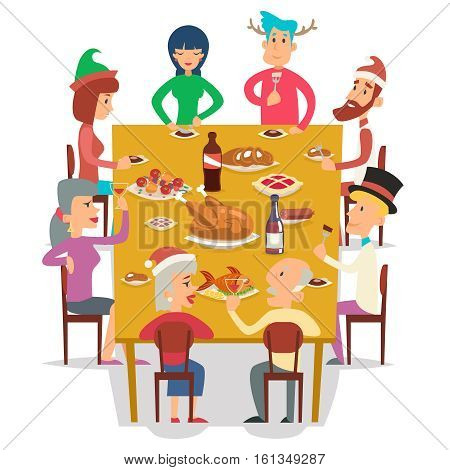 Christmas Group Friends Family Eat Meal Characters Celebration Meating New Year Party Design Vector illustration