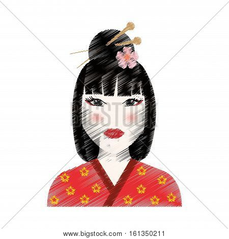 Beautiful geisha face icon vector illustration graphic design