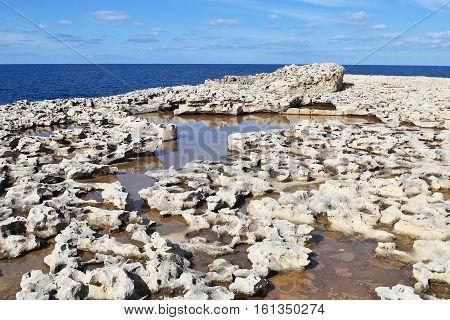 wild seacoast of island Gozo near Malta