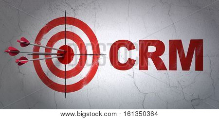 Success business concept: arrows hitting the center of target, Red CRM on wall background, 3D rendering