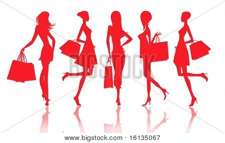 Silhouettes of women with shopping