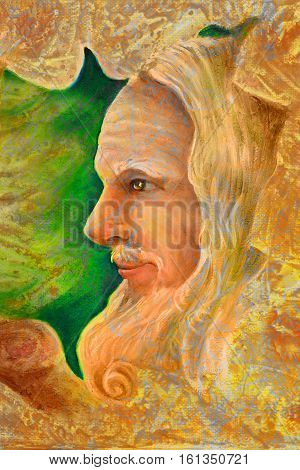 old wise senior druid profile portrait, oil painting on canvas with graphic structure.