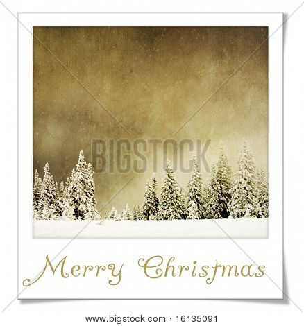 Vintage Winter Landscape in instant photo frame