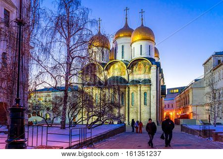 Assumption Cathedral (Cathedral of the Dormition Uspensky sobor) of the Moscow Kremlin in winter at sunset