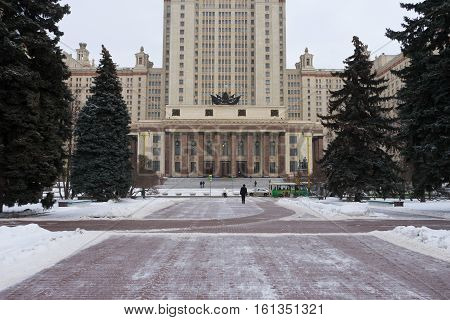 At the entrance to the Moscow State University in winter snow
