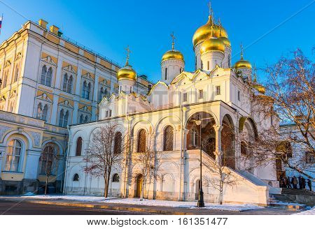 Cathedral of the Annunciation (Blagoveshchensky Sobor) in Moscow in the winter