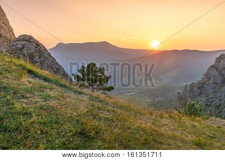 View of the sunset from the top of the mountain