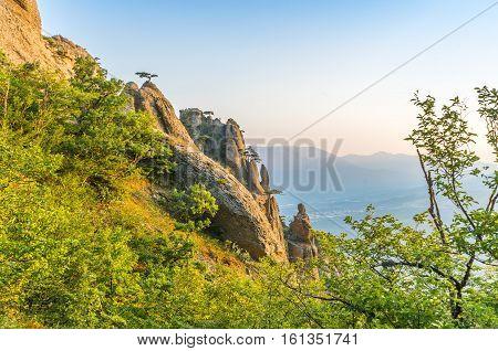 Rocks on the top of the mountain Demerdzhi