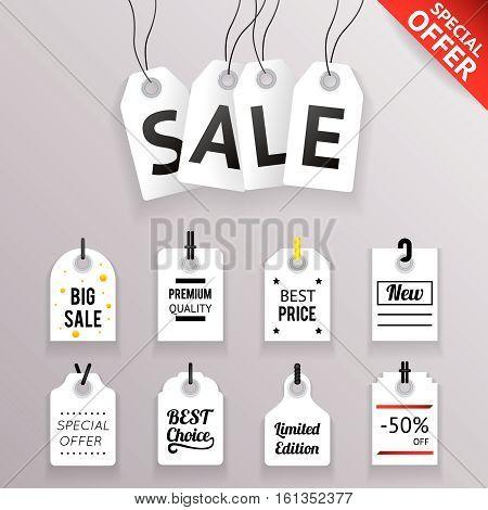 Price Sale Text Tag Symbol Labels Icons Set Transperent Background Vector Illustration