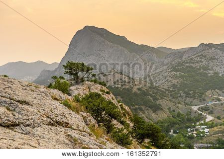 Beautiful mountain landscape from the old Genoese fortress in Sudak in Crimea