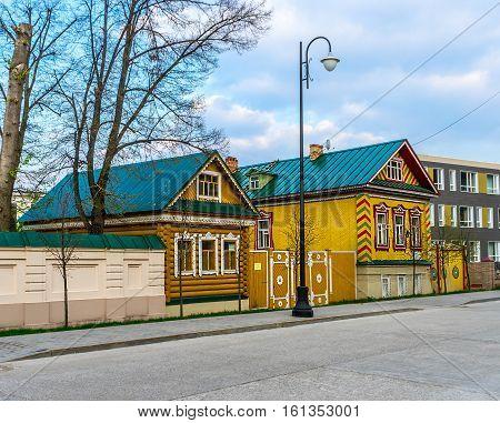 Tatar Old wooden houses in Old Tatar Sloboda in Kazan