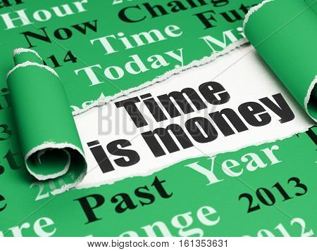 Time concept: black text Time Is money under the curled piece of Green torn paper with  Tag Cloud, 3D rendering