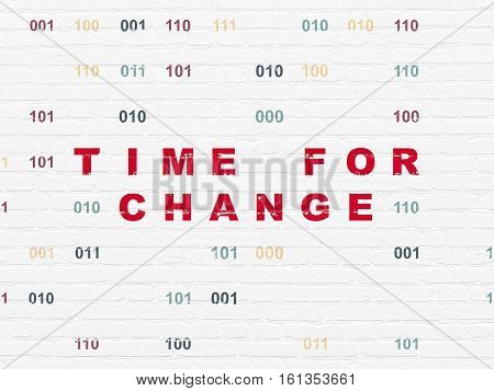 Time concept: Painted red text Time for Change on White Brick wall background with Binary Code