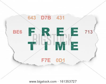 Time concept: Painted green text Free Time on Torn Paper background with  Hexadecimal Code