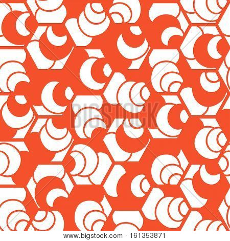 Seamless pattern. Repeating abstract background with hexagons. Stylish grid texture in trendy orange colors.