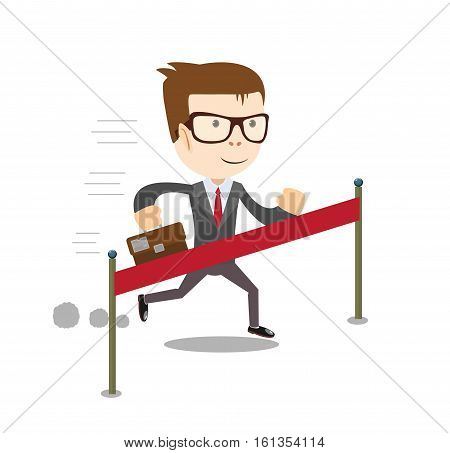 Winner - young business man crossing the finish line. Stock vector illustration
