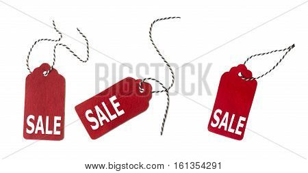 Set of color gift tags isolated on white background. Sale labels. Price tags. Special offer and promotion. Store discount. Shopping time. Gift labels isolated on white background. Label from red felt.