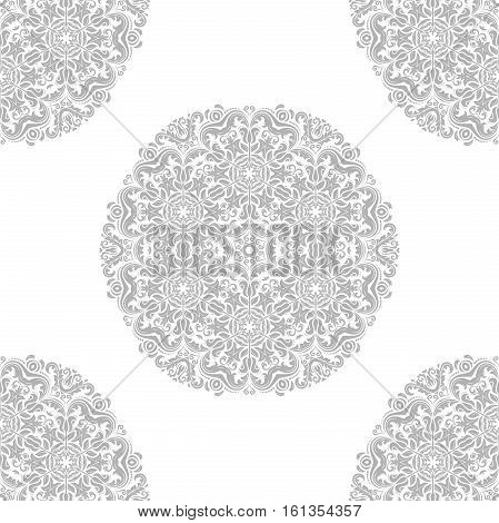 Seamless classic vector light silver pattern with round elements. Traditional orient ornament. Classic vintage background