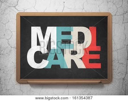 Health concept: Painted multicolor text Medicare on School board background, 3D Rendering