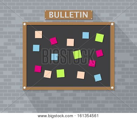 Bulletin board hanging on brick wall full of tasks on sticky note cards. Development, team work, agenda, to do list. vector illustration in flat style with long shadow