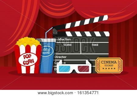 Retro movie set. Black clapperboard, box with popcorn, soda water glass, 3d glasses. ticket. vector illustration in flat style