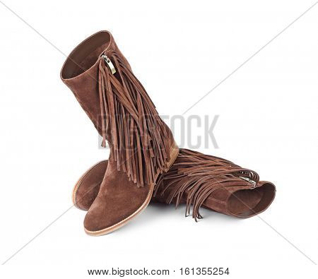 Womens boots isolated on white background