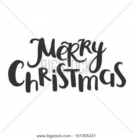 Merry Christmas fun messy lettering isolated on white.