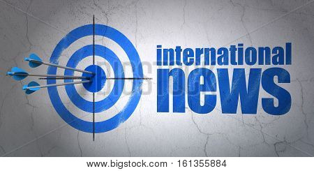 Success news concept: arrows hitting the center of target, Blue International News on wall background, 3D rendering
