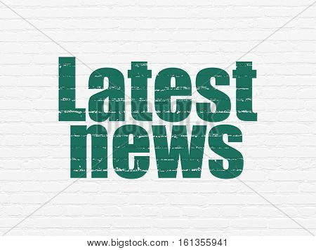 News concept: Painted green text Latest News on White Brick wall background