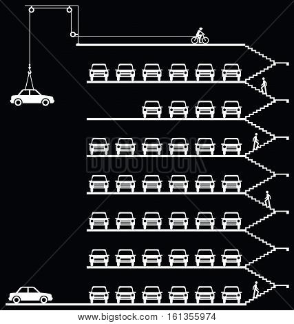 Representation of cars parked in a milti storey car park isolated on black background