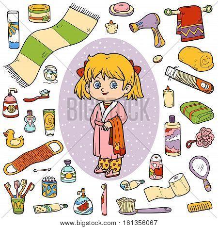Vector color set of bathroom objects, little girl and bathrobe
