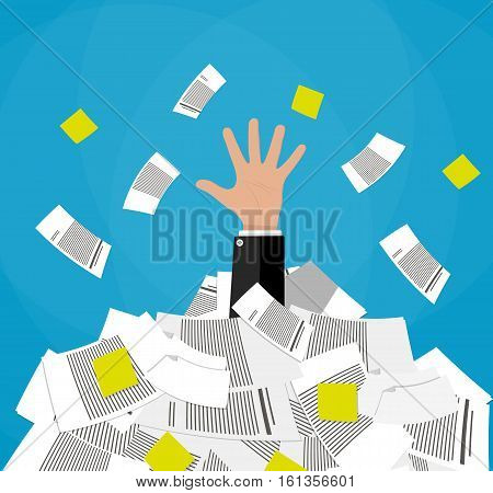 Stressed cartoon businessman in pile of office papers and documents. Stress at work. Overworked. Vector illustration in flat design