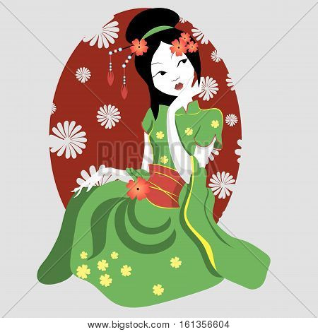 New geisha in a kimono. Japanese New Year s card