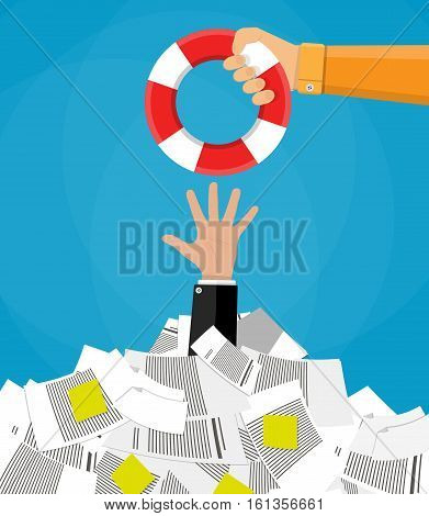 Stressed cartoon businessman in pile of office papers and documents getting lifebuoy. Stress at work. Overworked. Vector illustration in flat design