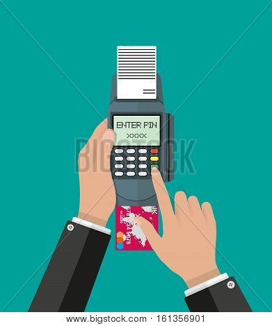 hand businessmen enters a pin code for a Bank card on the payment pos terminal. vector illustration in flat style