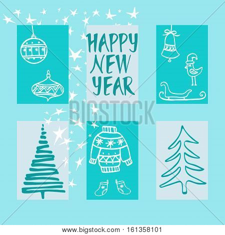 Winter`s holiday cards set. Season`s greeting handwritten calligraphy. Christmas tree toys sleigh bell and Christmas ugly sweater. Vector design.