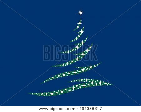 Symbol of a fir tree with stars on a blue background
