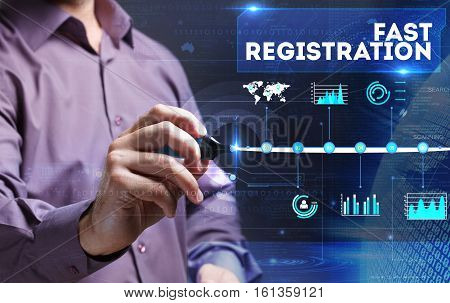 Technology, Internet, Business And Marketing. Young Business Person Sees The Word: Fast Registration