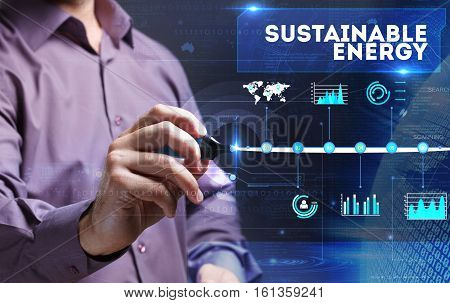 Technology, Internet, Business And Marketing. Young Business Person Sees The Word: Sustainable Energ