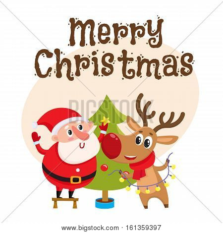 Merry Christmas greeting card template with Funny Santa Claus and reindeer decorating tree with balls and stars, cartoon vector. Christmas poster, banner, postcard, greeting card design with a deer