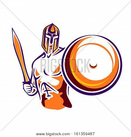 Spartan warrior. Abstract ancient soldier with a sword and a round shield