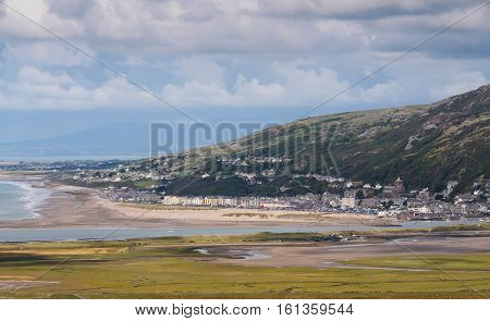 View of Barmouth on the western edge of Snowdonia on the Mawdach estuary.