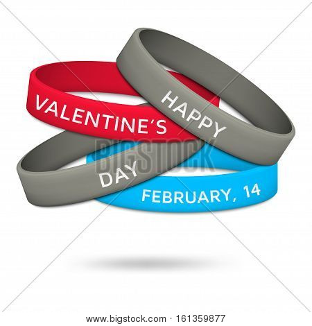 Happy Valentines Day, February, 14 rubber wristbands. Vector illustration.