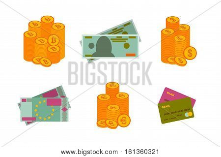 Dollar and Euro paper banknotes, coins. Bitcoins and credit bank cards. Flat icons. Vector illustration.
