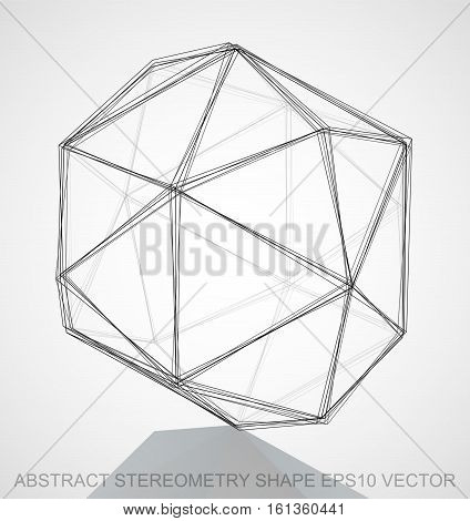 Abstract geometry shape: Ink sketched Octahedron with Reflection. Hand drawn 3D polygonal Octahedron. EPS 10, vector illustration.